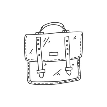 nice banner briefcase hand drawn sketch case. Narrow trapezoid bag with rounded corners for carrying notebooks and books. Stylish leather accessory for mental work. vector illustration.