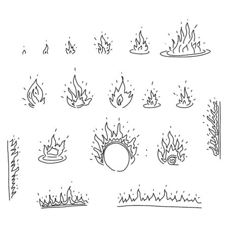 bright banner sketch set hand drawn fire flames. depicted small flame growing gradually into large flame. sketch cartoon style black pencil white background bright natural phenomenon. Иллюстрация