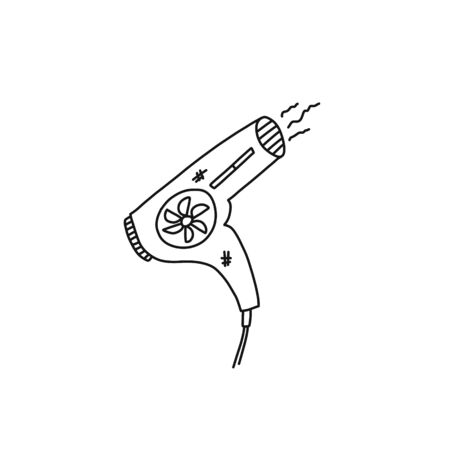 Bright banner sketch electric hair dryer art. Household appliance dry hair, fan pulls air inside, heats element out, invention new generation. Cartoon drawing flamaster with uneven strokes.