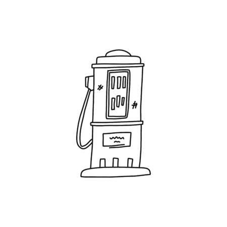 Flat banner automotive modern gas station sketch. Pumping unit for dispensing gasoline and other liquid fuels for cars at gas station. Modern equipment for servicing vehicles. Vector illustration.