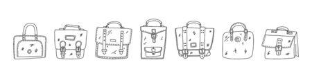 set poster, briefcase hand drawn sketch case.