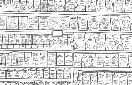 Flat banner extensive supermarket shelf, cartoon. Sketch full shelves with products arranged in mall. Grocery row in store. Vector illustration. Wide selection pastries in hypermarket.