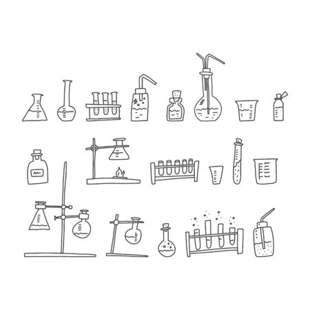 Chemistry laboratory devices sketch hand drawn. Varieties devices fastening glass cups scientific invention, progress testing reagent substances. Cartoon flat art pencil style black.