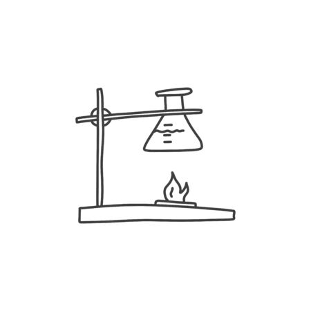 Test tube glass chemistry, hand drawn sketch. Technology research science device, glass vessel heated fire, special stand holds container. Cartoon flaky art design, background.