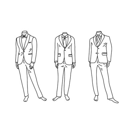 Headless mannequins in fashionable mens suits. Vector illustration on white background. Men's fashion in shop windows. Trending business suits. Mannequins stand in various attractive poses.