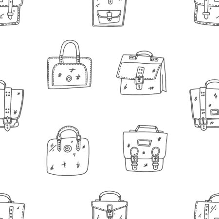 Briefcase hand drawn sketch case. Slim bag with side surfaces and pockets for carrying items. Fashion paper accessory vector illustration.