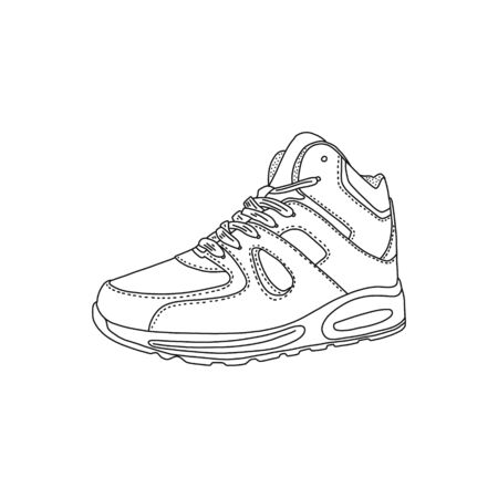 Cognitive poster krasovok art sketch close-up. Youth sports shoes run for walks street, soft comfortable equipped with pads inside, top product leather. Drawing black pencil pattern.