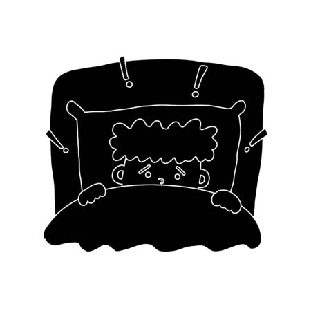 Informative flyer fright boy black background. Sketching cartoon art style, curly-haired kid frowned anxiety night, pulls blanket over himself with his hands, exclamation mark around head big pillow.