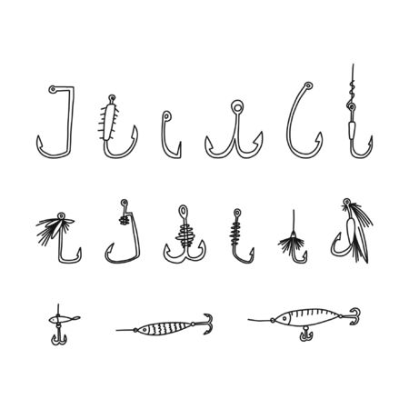 cognitive flyer fishing hook hand drawn sketch. invention catching fish various kinds, tackle simple type, intricate devices bait successful fishing, pleasant relaxation, sport, pastime.