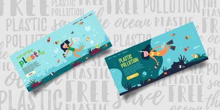 Set out of the plastic rap, plastic pollution. System for clearing the ocean plastic debris. Volunteer girl swims under water and removes bottles. Problem pollution oceans. Vector illustration.