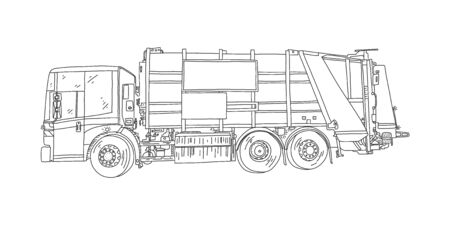 Garbage collection vehicle, vector illustration. Truck designed for loading, compacting, transporting and unloading garbage. Modern rear loader uses hydraulic drive mechanism, sketch. Illustration