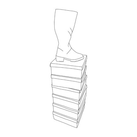 Banner boot on box, shoe store, sketch vector. Online version shoe store with photos goods. Sale new collection womens shoes. Seasonal sale in womens store. Selection assortment.