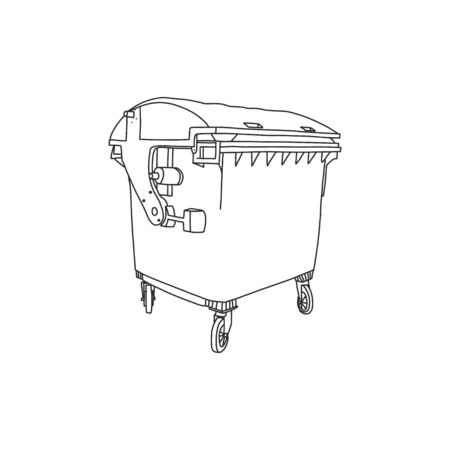 Garbage container plastic, vector illustration. Environmental problems and waste management. Garbage business, container for city. Disposal and separation organic waste and non-organic.