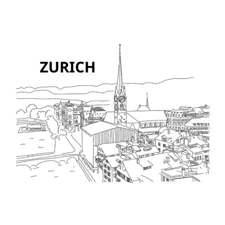 Beautiful panorama from above city zurich, sketch. Tourist attraction. International arbitration court. Old town and tower. Observation deck in europe. Prestigious property in Switzerland.