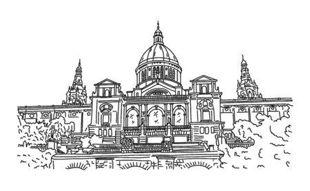 Architectural landmark Spain, Barcelona sketch.