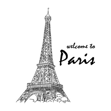 Banner inscription welcome to paris eiffel tower. Ilustración de vector