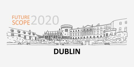Future scope 2020 in dublin, technology conference 向量圖像