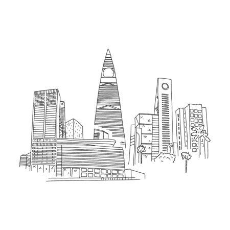 Business district city riyadh saudi arabia sketch.