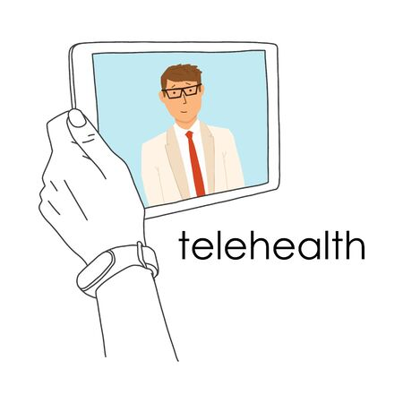 Remote medicine application tablet, telehealth. Use computer and telecommunication technologies for exchange medical information. MedTech is leading venture capital industry, banner.
