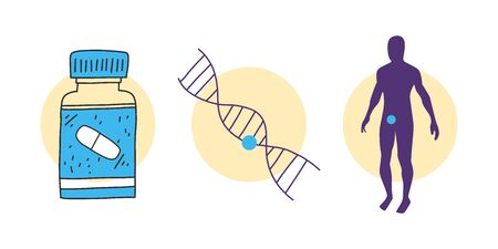 Innovative approach healthcare precision medicine. Treating specific patient, not disease. Global use personalized patient data. Diseases in people with different genotypes. Vector illustration. Banque d'images - 143296622