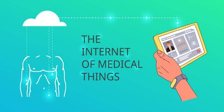 Banner written by the internet of medical things. Synchronization human health data is downloaded from application on tablet to cloud on remote server. Smart technology storage health data.