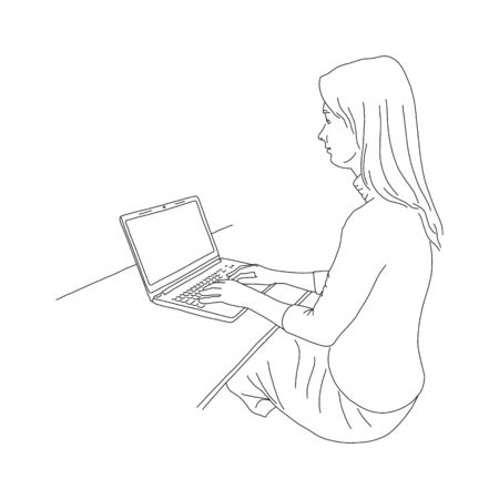 Nice girl sitting at table and working on laptop. Girl works at home during pandemic. Remote work during quarantine. Collecting information on Internet, sketch. Vector illustration. 版權商用圖片 - 143296624
