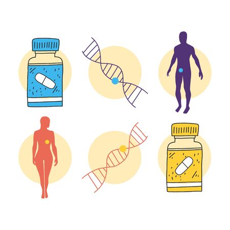 Precision medicine, genetic information treatment. Patient care allows doctors to choose treatment methods based on genetic understanding their disease. People's genetic code and drug selection.