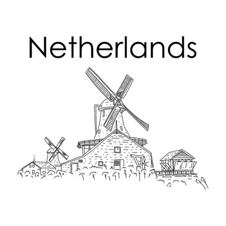 Windmills rich history and culture Netherlands.  Mechanical work due to wind energy, sketch