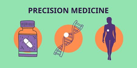 banner precision medicine, genetic analysis. detection biological markers that signal risk disease. development new classifications diseases. analysis patient's genome. Vector illustration. Banque d'images - 143296152