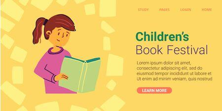 Girl reads book written, childrens book festival Stock Illustratie