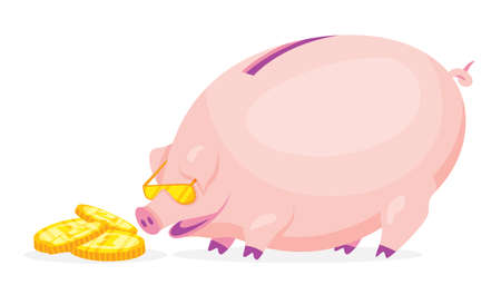 Fat cartoon pig piggy bank wearing golden glasses