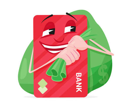 Bank card carries a bag of money and laughs