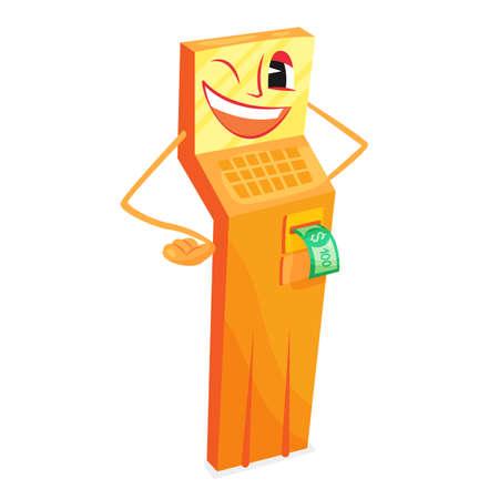 Tall yellow cartoon ATM cash refill laughing
