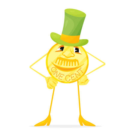 Funny cartoon golden one cent with hat Illustration
