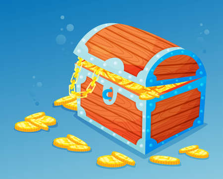The treasure chest is at the bottom of the sea