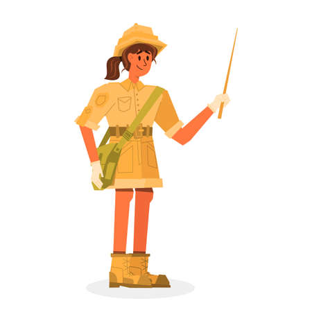 Flat banner girl historian holding wooden pointer