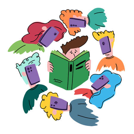 Boy reading a book around him kids with phones Illustration