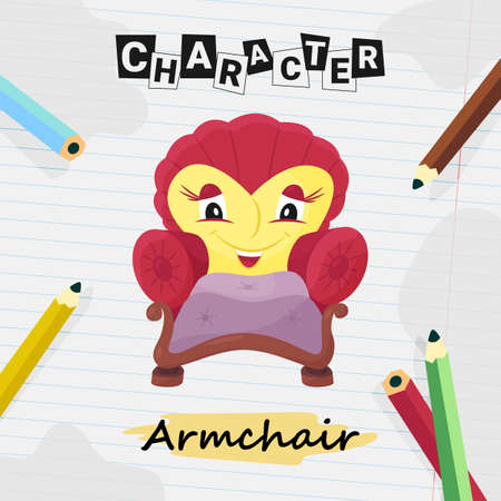 Funny cartoon character armchair with woman face Illustration