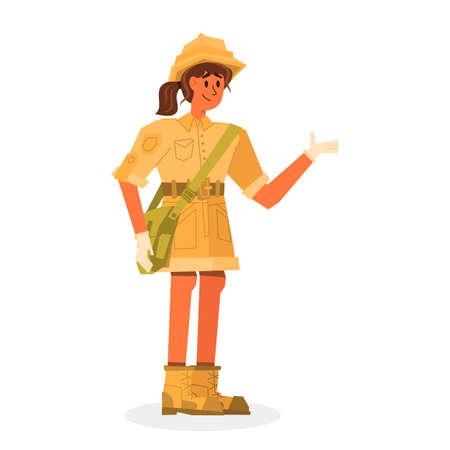 Cartoon character young woman explorer of history