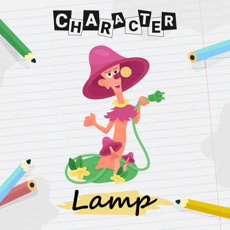 Cartoon character table lamp with lampshade, flat