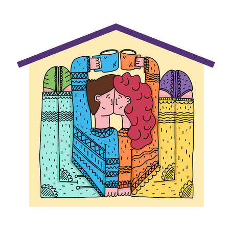 A man and a woman live in a cramped house Illustration