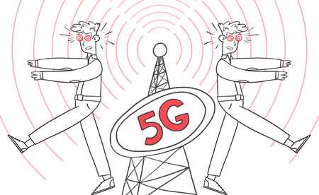 People zombies, 5G telecommunications equipment Illustration