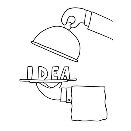 Male hands show an idea on a platter