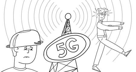 The guy looks at the phone tower with 5g