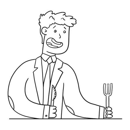 A man in suit knocks on table with fork and knife