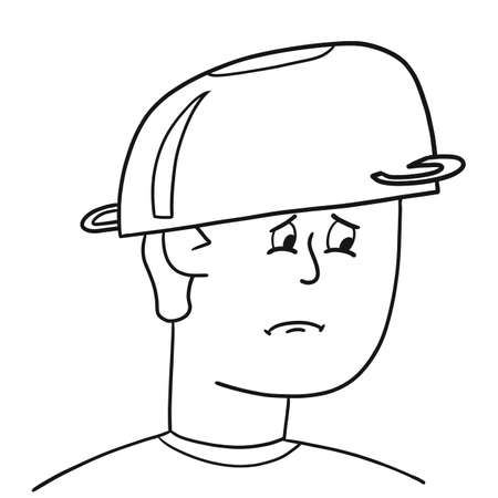 Sad guy put a saucepan on his head, vector illustration. Man protects his head from the effects of the Internet