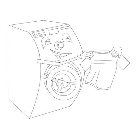 Washing machine with face takes out laundry