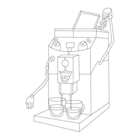 Professional coffee machine makes drink, sketch