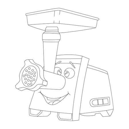 Flat banner electric grinder with smiling face Illustration