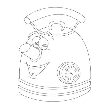 Teapot with a face and a time sensor, sketch Illustration